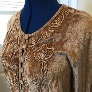 Sweaters - Unique velour embroidered boho cardigan tan S/M